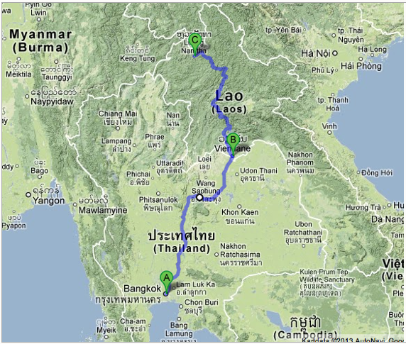 Through Laos and Thailand Distance 1.400 km 3-4 weeks traveling time Arrival before christmans