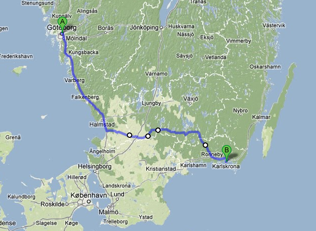 Göteborg - Karlskrona Distance: 380 km Start 16 February 10 traveling days including stops