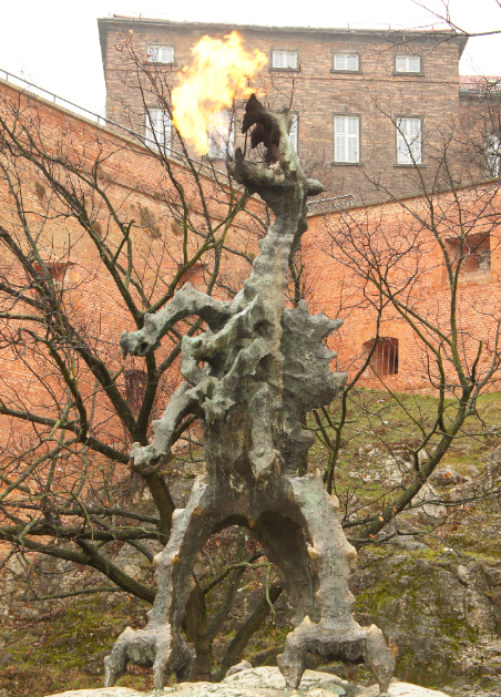 Krakow has a legend of a Dragon. This statue breathes fire every 5 minutes.