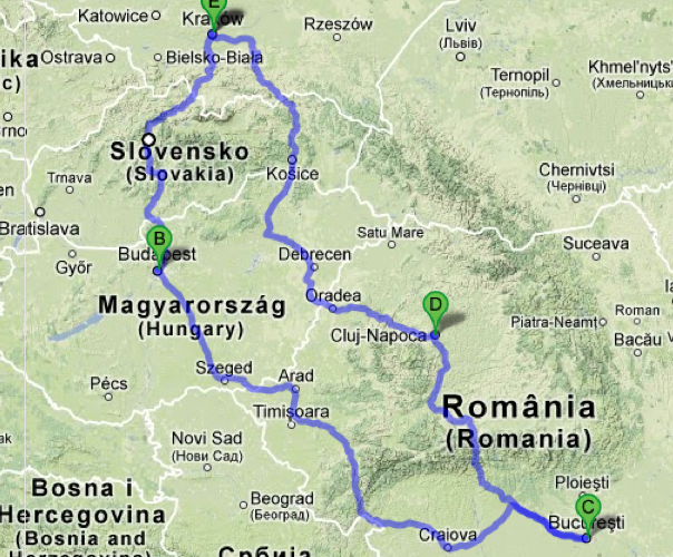 Route options.  Eastern route through Kosice and western through Budapest
