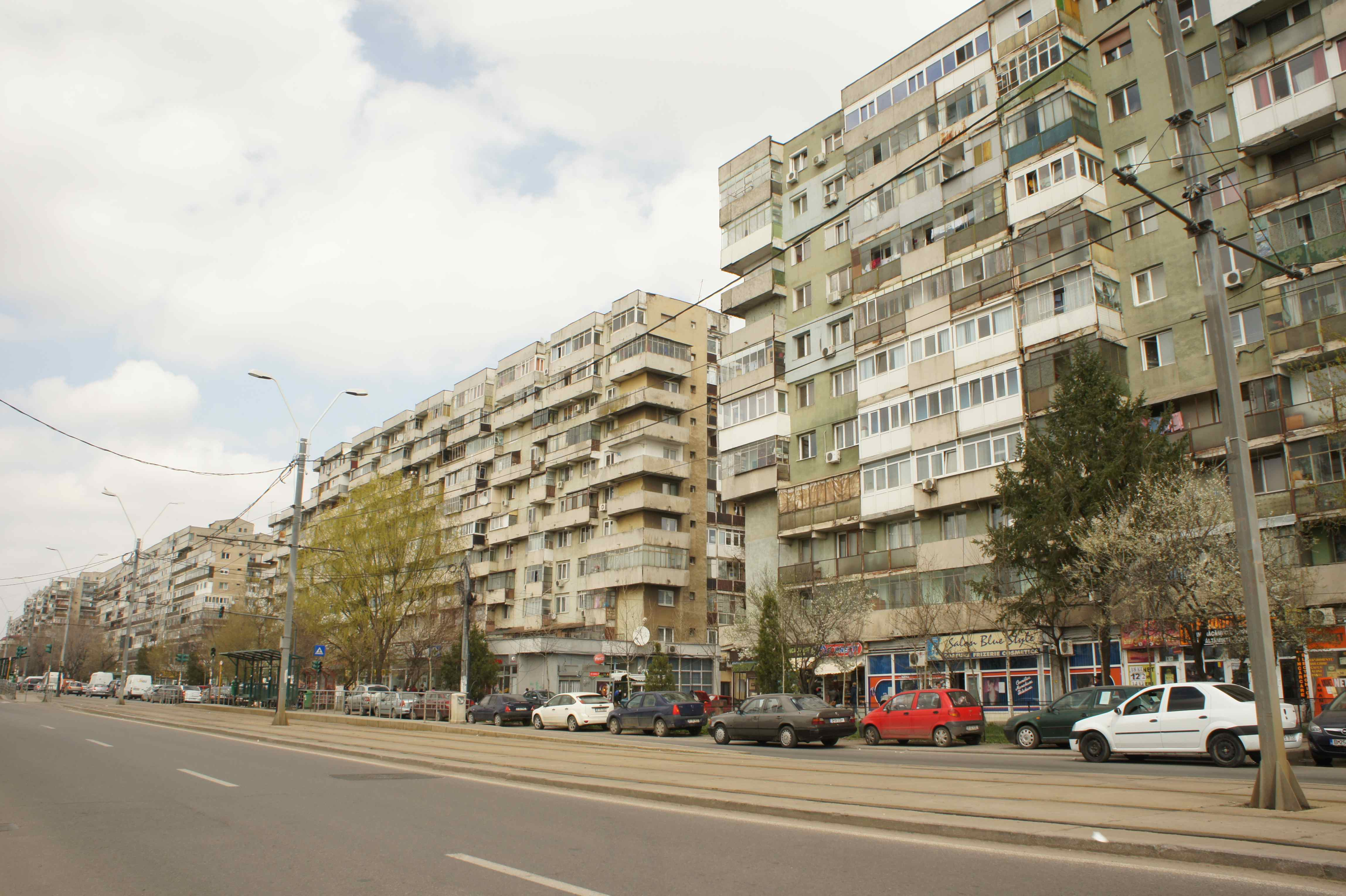 Apartment blocks in need of renovation in Bucharests suburbs.