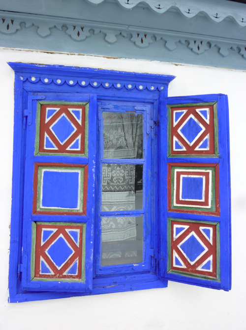 Colourful window at the village museum