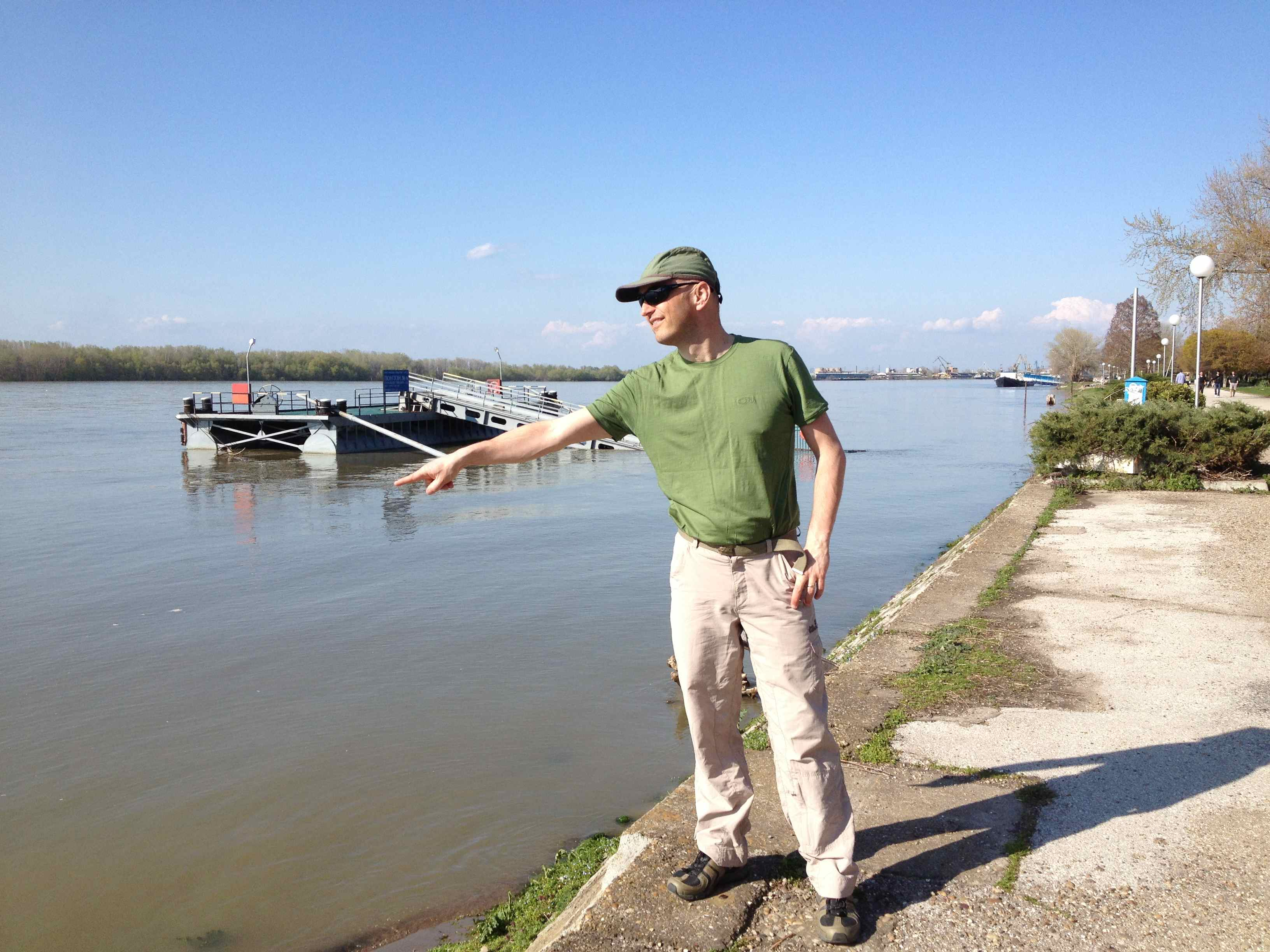 Pointing at the might river Danube