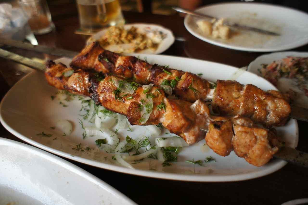 """Shaslyk"" (barbecued) pork"