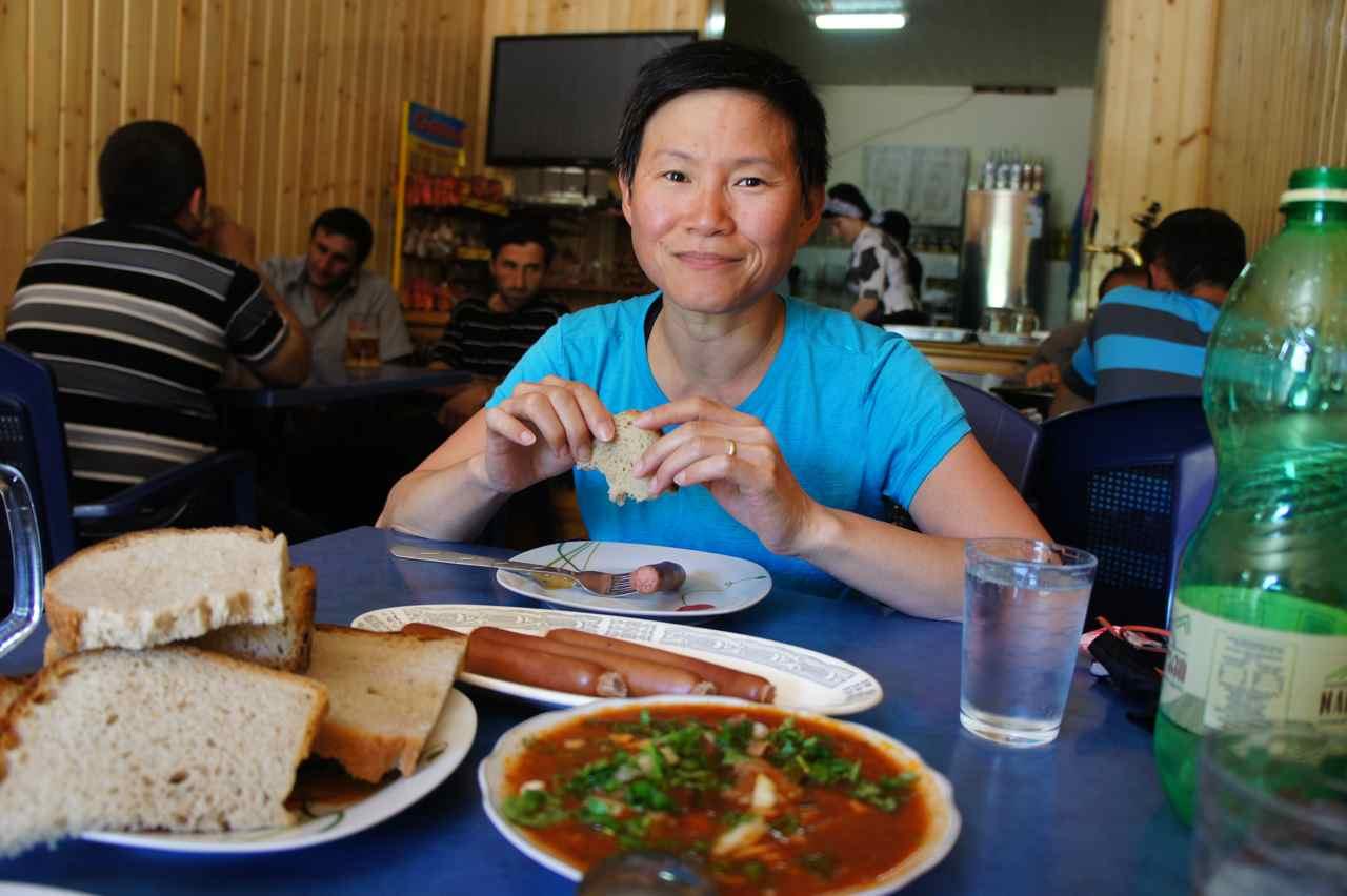 Lunch at the wrestler's restaurant
