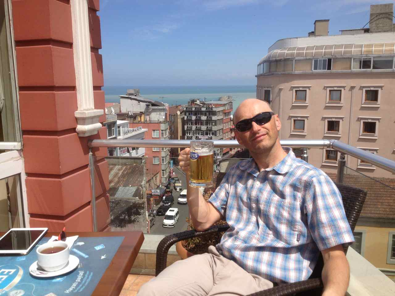 Relaxing with a beer while enjoying the view of the Black Sea and the city centre