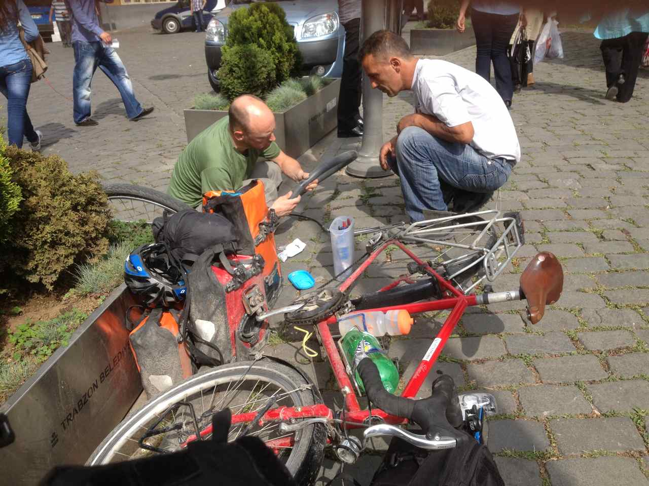 The guy from Turkey's football association helping me fix my 5th flat.