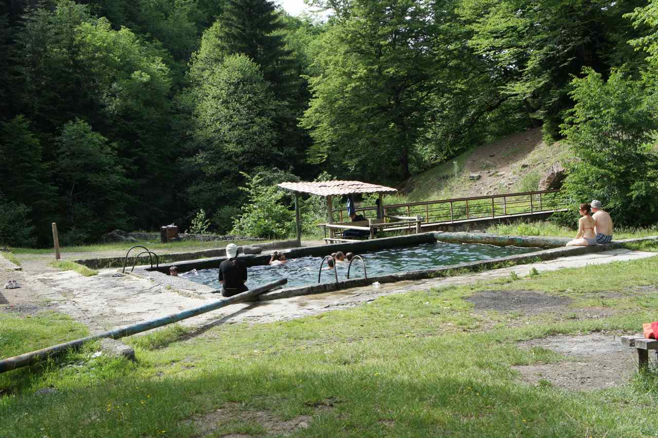 Community outdoor pool with warm mineral water