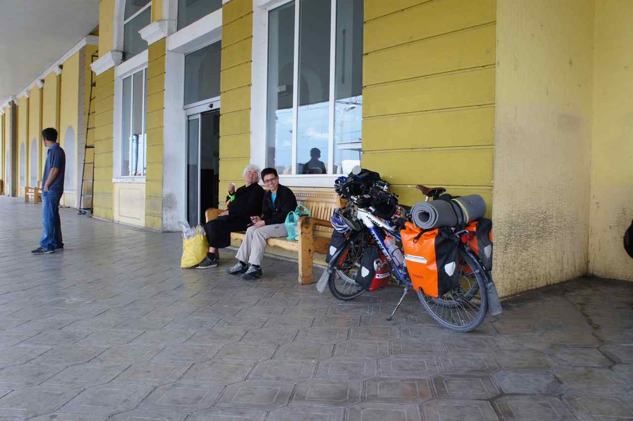 Waiting for the train at Gori railway station