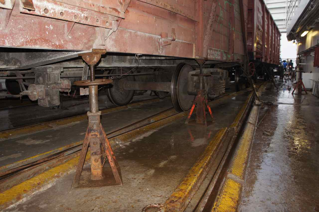 This is how railway cars are shackled on a ferry