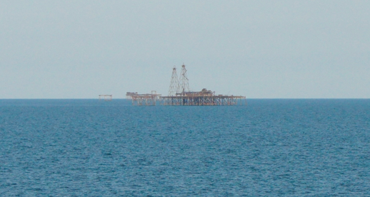 Passing one of the many oil rigs in the Caspian Sea