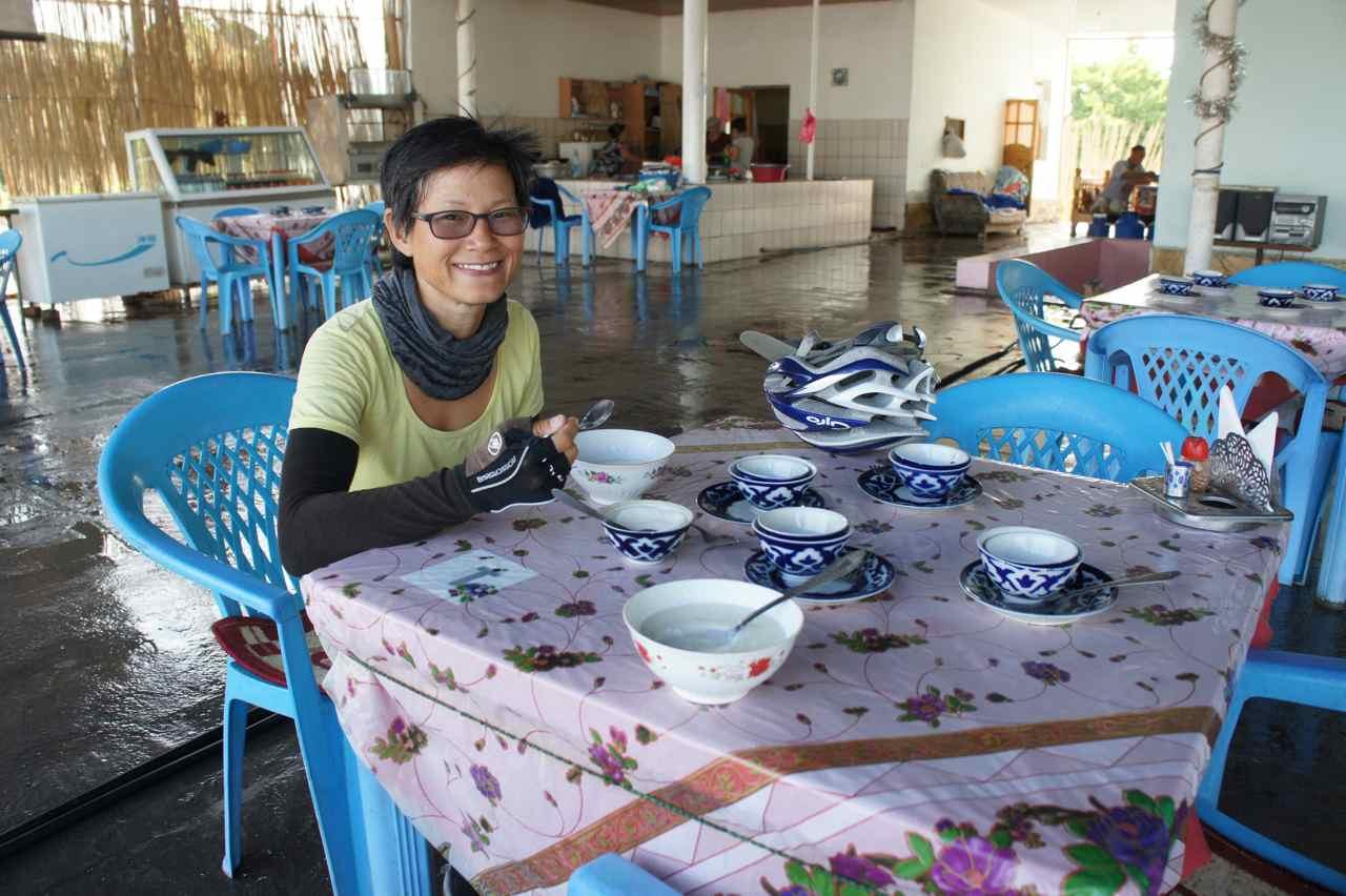 Having coffe and kefir in a roadside restaurant