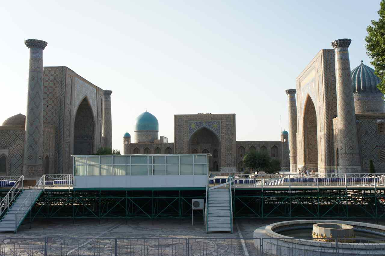 The registan. Unfortunately there was a stage for an upcoming music festival that blocked the view.