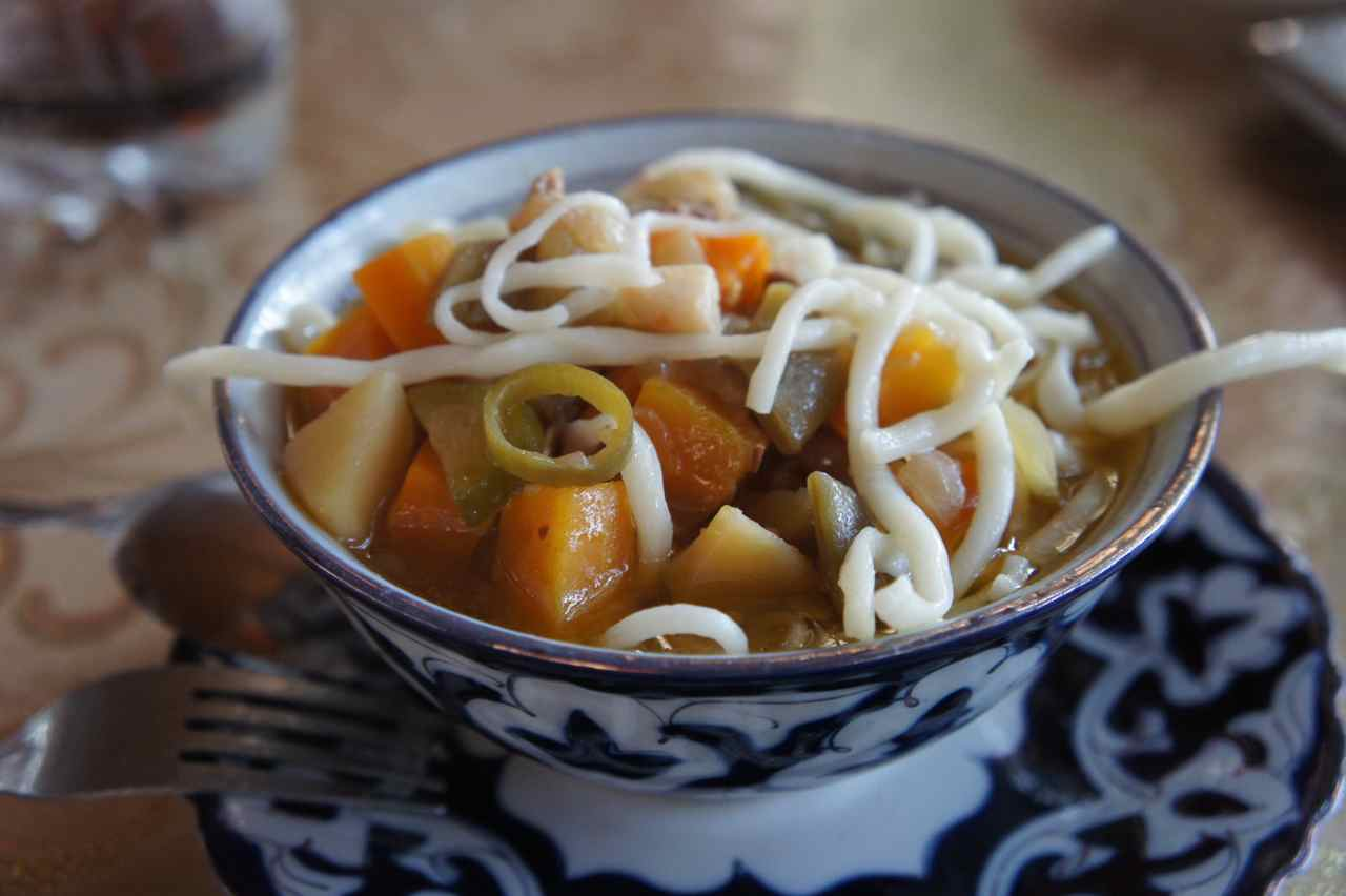 Lagman - a traditional Uzbek dish consisting of meat, vegetables and noodles