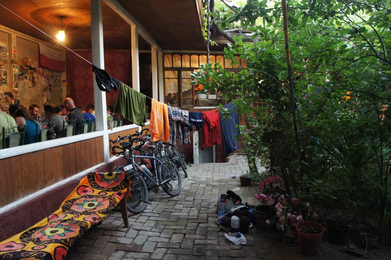 The cosy backyard of the guesthouse where we are staying