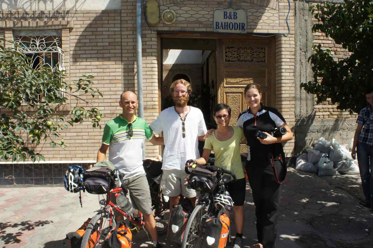 "Simon in the white shirt got the nick name ""Jesus"". Maria from Switzerland managed to get an Iranian visa and biked through during the election times. It felt good that both Jesus and Maria waved good bye to us at the hostel"