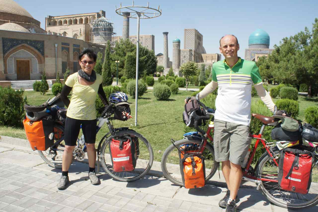 With our bikes in front of the Registan