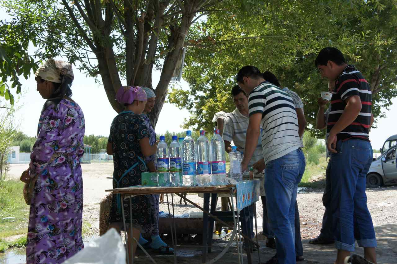 Ladies selling ayran and cold drinks