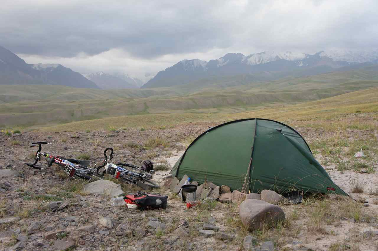 Campsite with a view. It was so windy so we built a small wall of stones to prevent the wind from lifting the tent