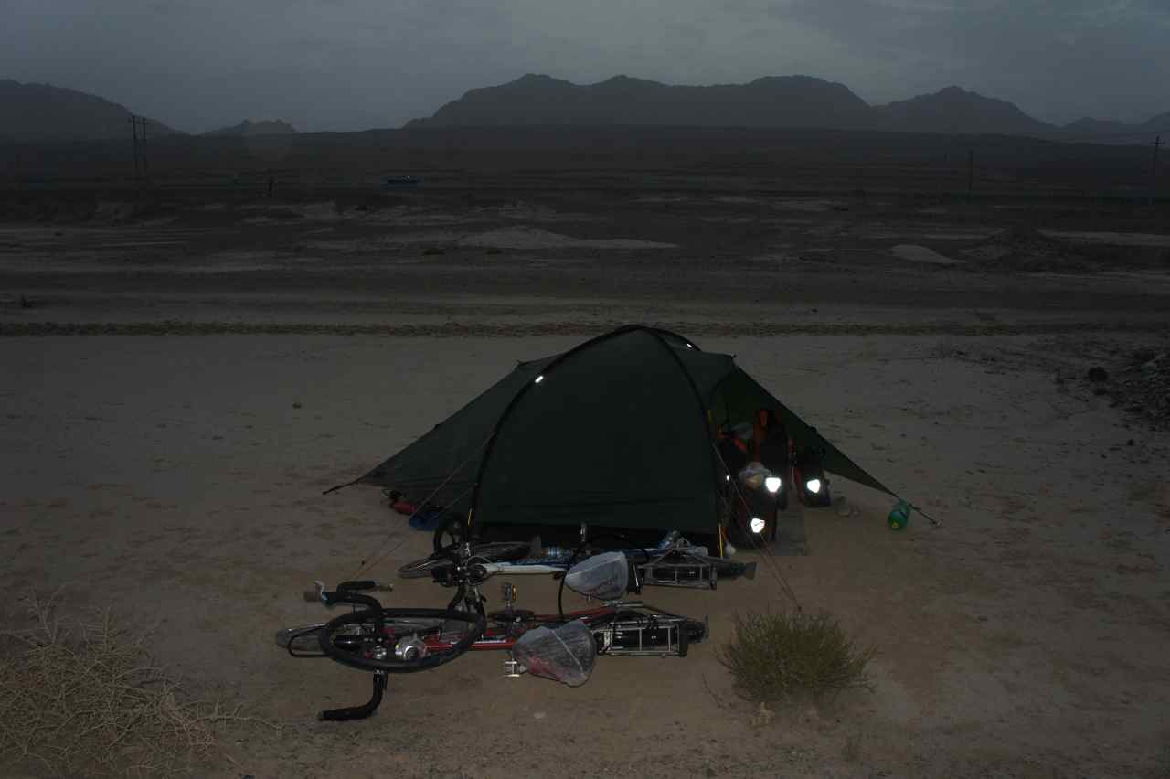 Camping in the outskirts of the Taklamakan dessert