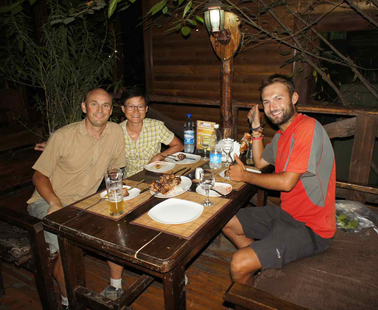 Having dinner with Bartek from Poland whom we have cycled with since Baku