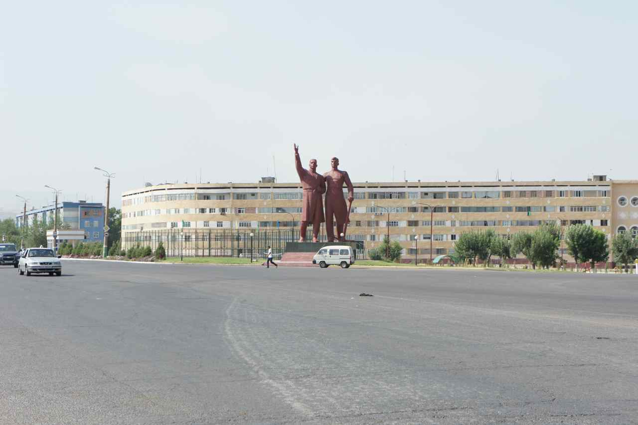 Soviet style sculptures at the exit of Olmaliq