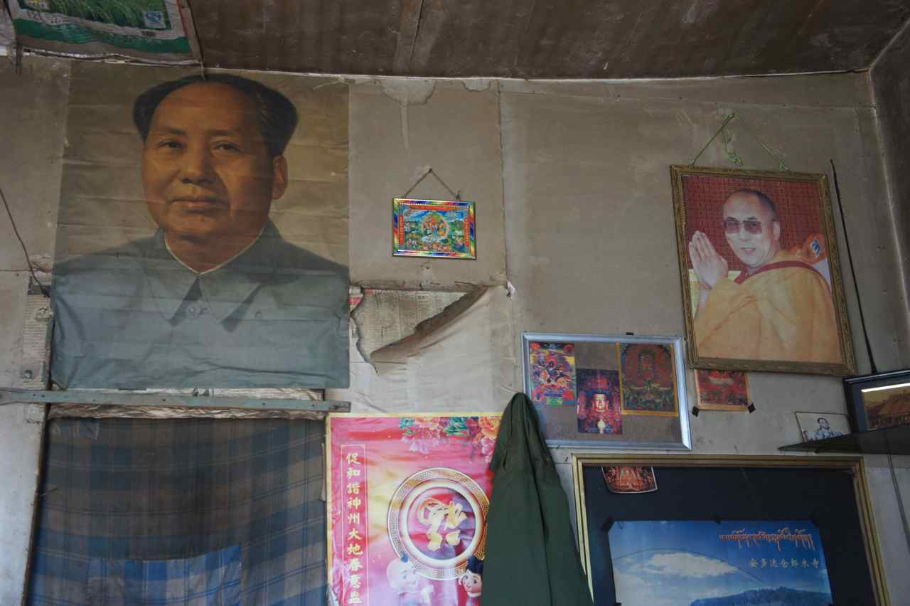 During the horse trek we stopped at a tibetan house to have lunch and I found these two photos on the wall. The tibetan who lives there told me Mao was bad and DL good.  The language barrier made it impossible to ask why then have the photo of both these antagonists