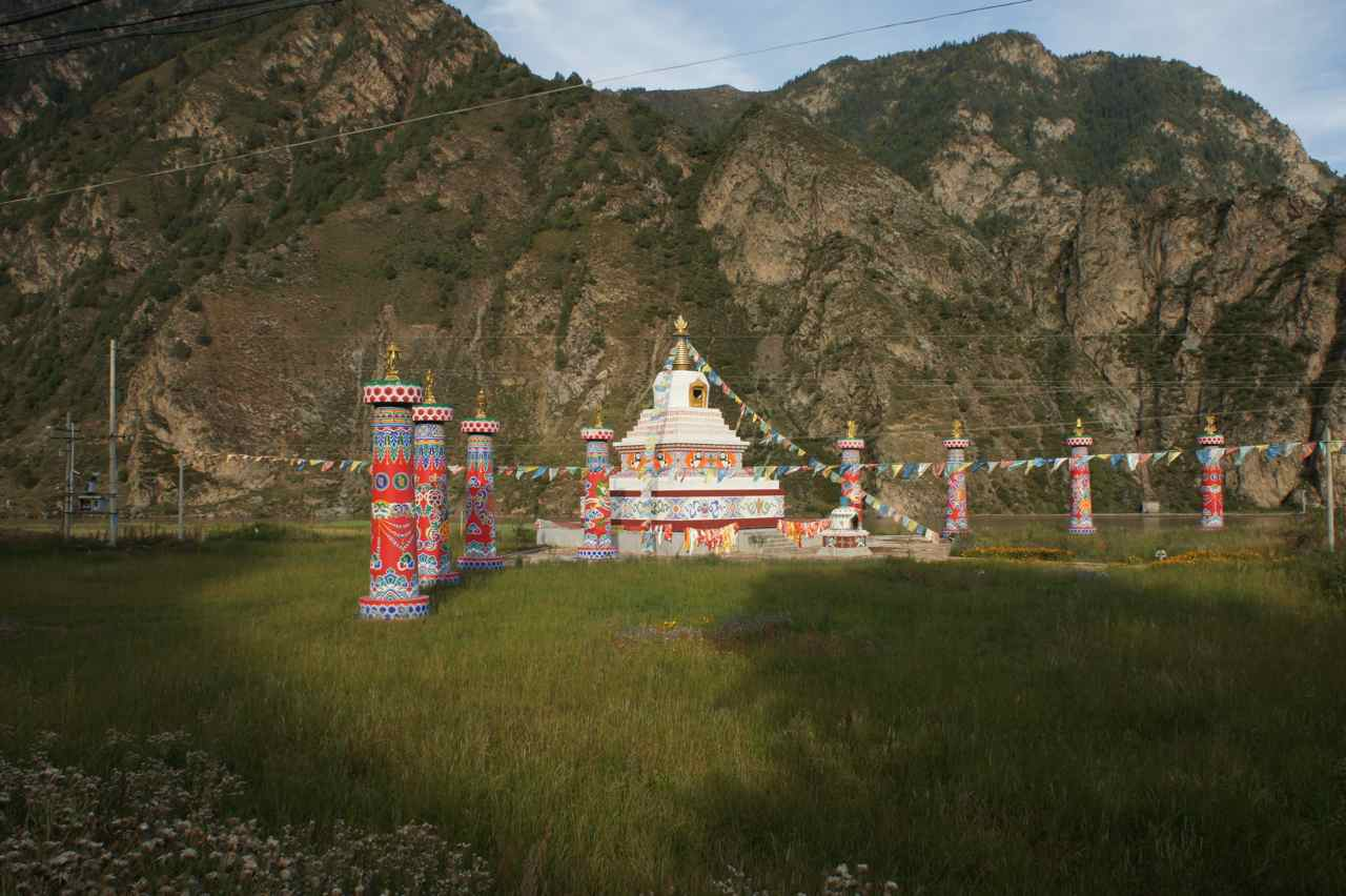 Passing holy tibetan shrines