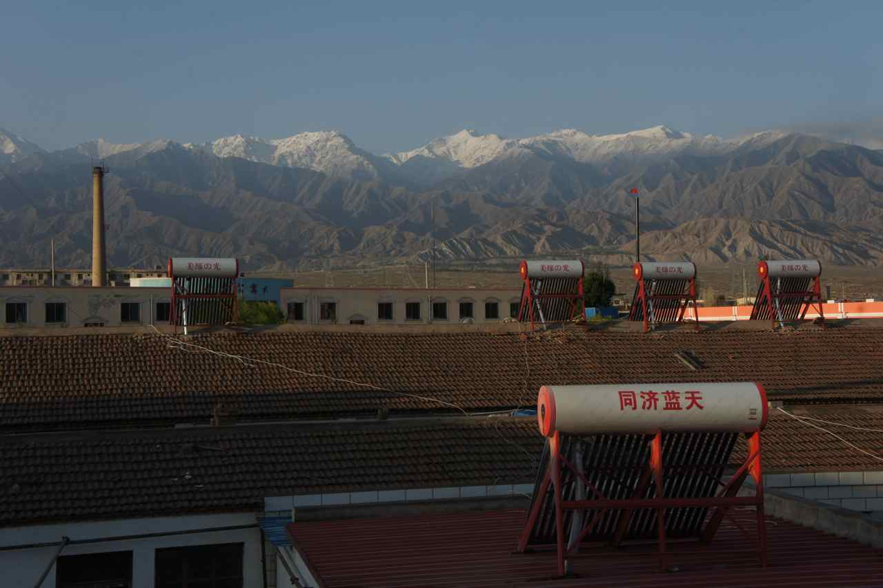 View from our room in the cheap hotel in Qingshui. Note the solar collectors on the roofs