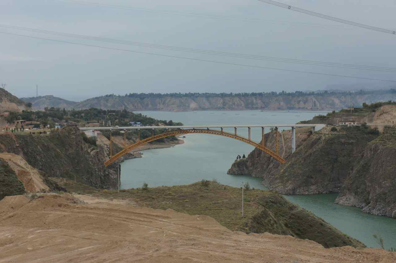 The midpoint of our journey through China - the yellow bridge over the Yellow River