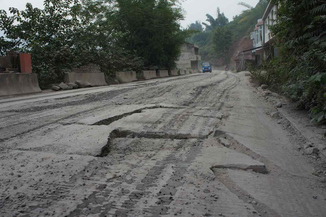 Road cracked by an earthquake