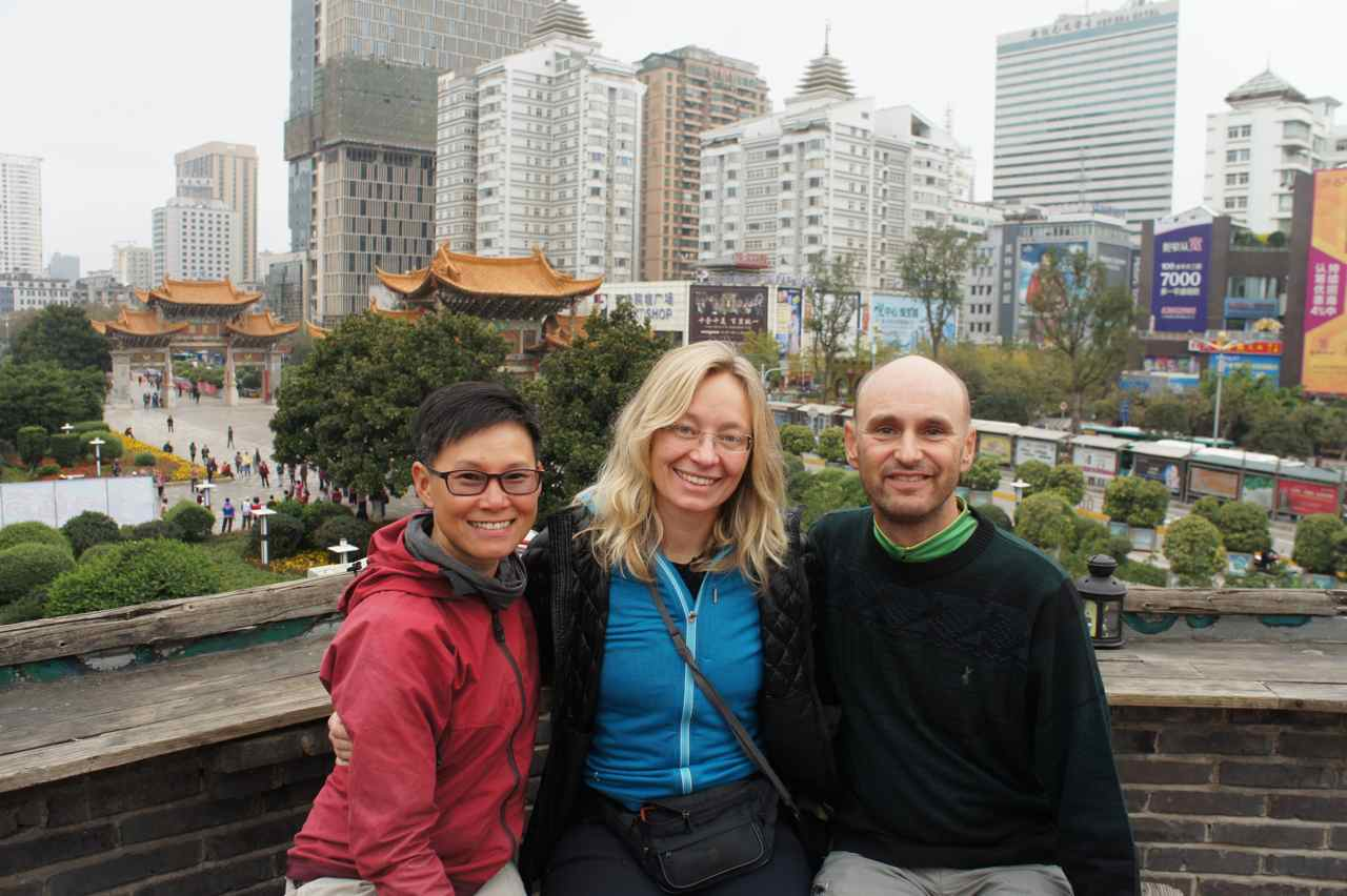At the balcony of our guesthouse before leaving  Kunming