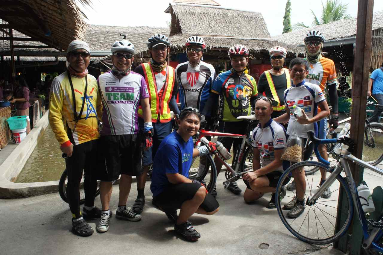 The cyclists who came up from Bangkok to have lunch with us in Ayuthaya today