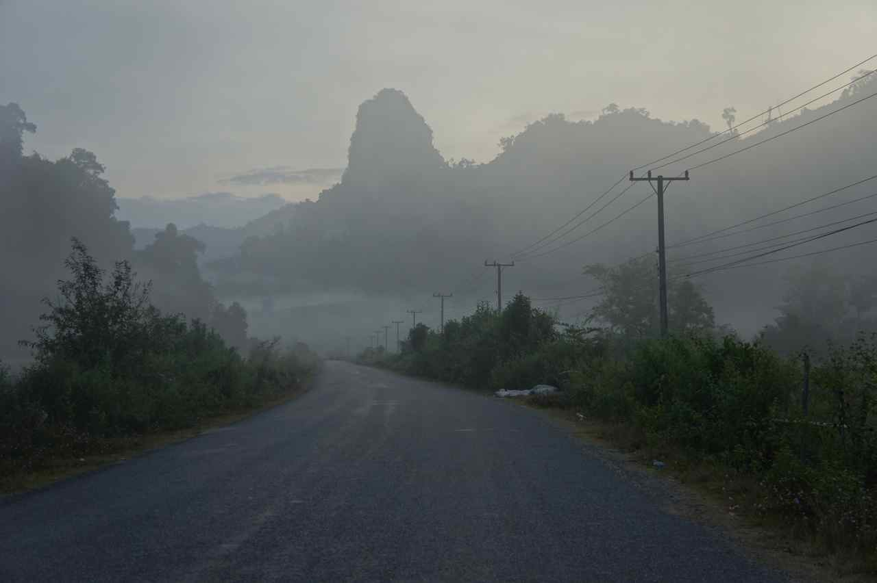 Misty morning when leaving our hosts in Kasi