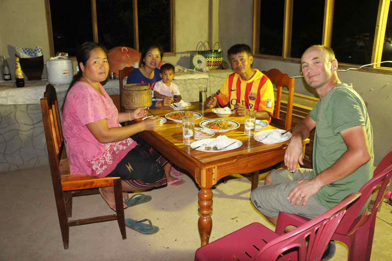 Having dinner in with our host family. Their house is still under construction and will be wonderful once it's completed.
