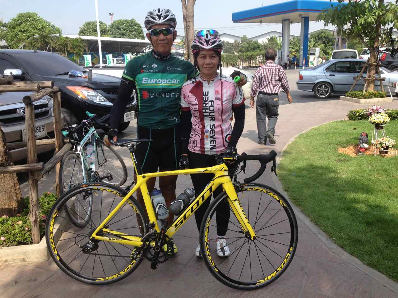 Saeng and her soulmate P'Nop before a ride in November last year
