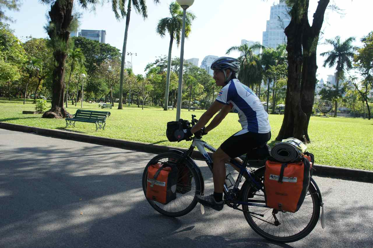 Riding through the Lumpini Park